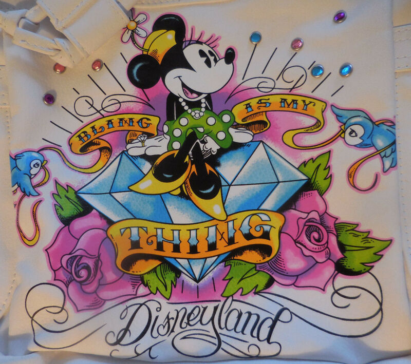 Disneyland Bag Purse Minnie Bling my Thing Tattoo White Pink Turquoise Sparkles