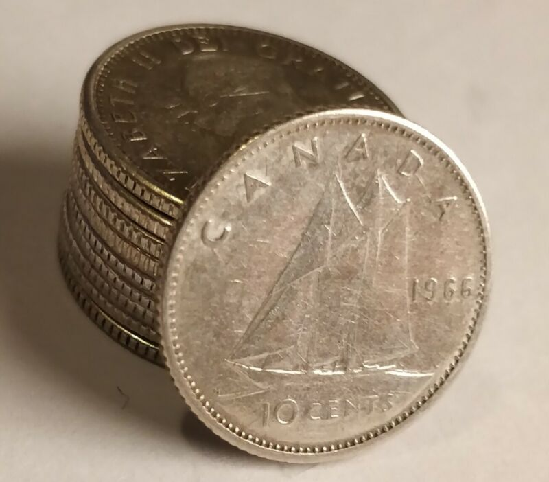 Lot of 10 80% Silver Canadian Dimes 10-cent Junk 1920-1966