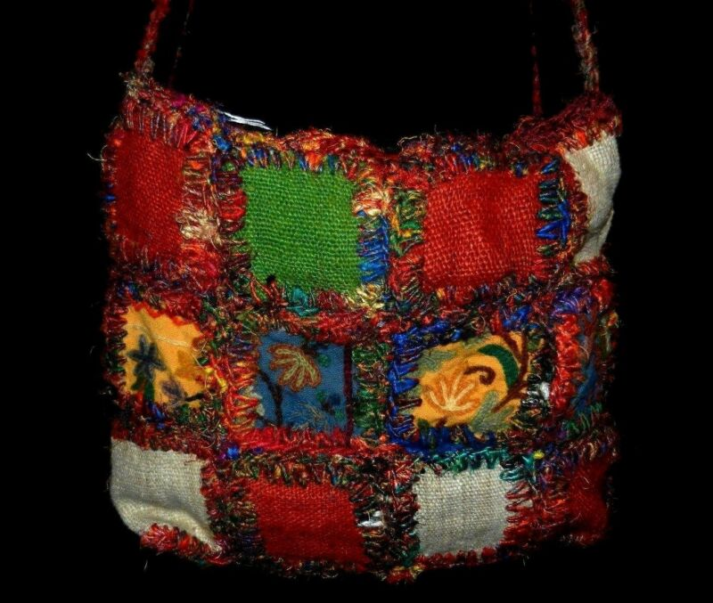 Large, unique,cloth distressed shoulder bag - made in Nepal -  real eye catcher!