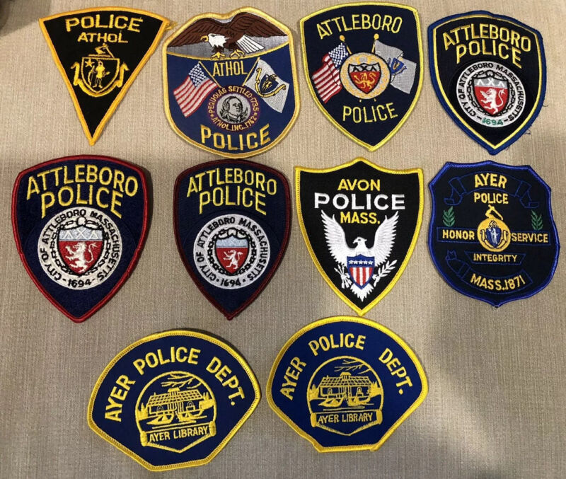 Massachusetts Police Patch Lot of 10 A's