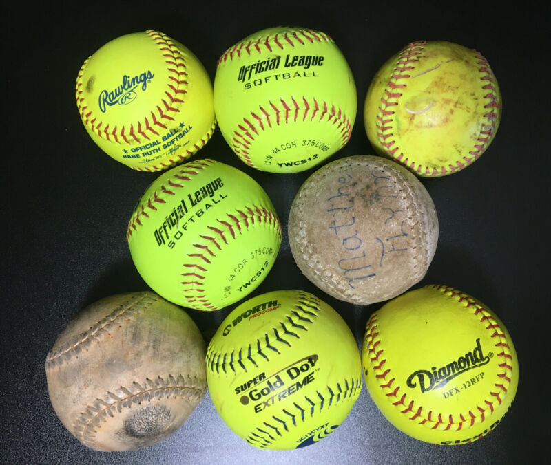 Lot of 8 Softballs Yellow White Used Condition