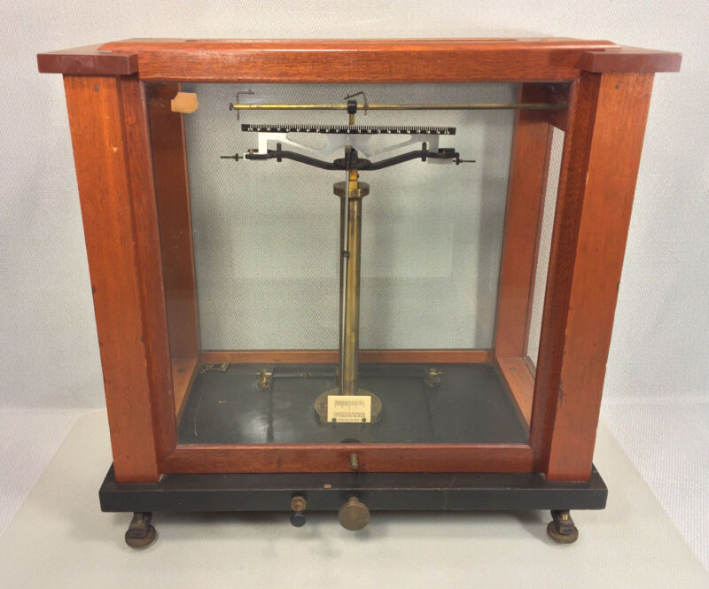 Antique Fisher Scientific Apothecary Scale Glass is Intact No Pans or Hangers