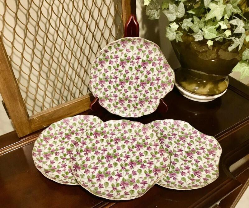 4 Vintage Original NAPCO China Hand-Painted Violet Bud Luncheon Plates