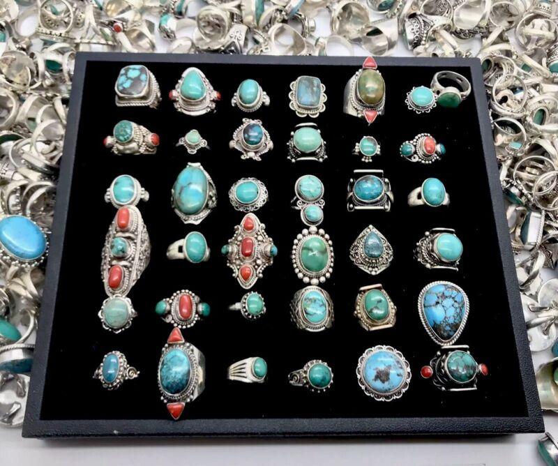 Wholesale Turquoise Lot of 100 Gram Of Sterling Silver 925 Rings Resale Bulk