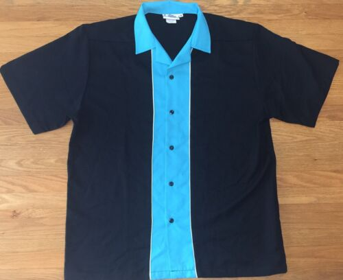 Cruisin' Usa Yrf Black/turquoise Bowling Shirt - Yrf - Large
