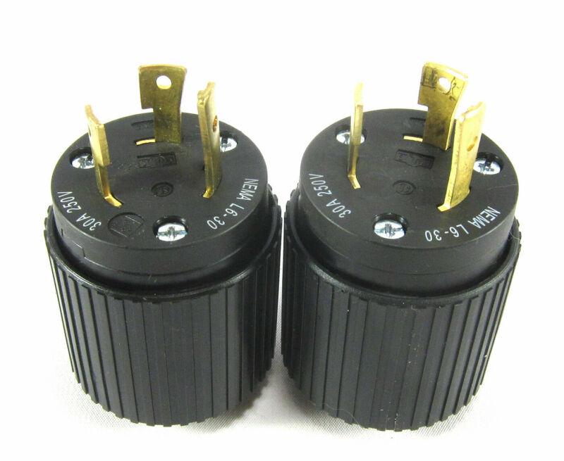 Lot of 2 Hubbell NEMA L6 30P 30A 250VAC Twist Lock Plug Cord End NEW