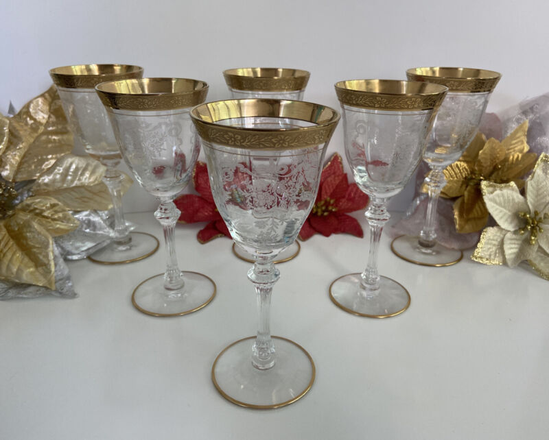 Port Wine Cordial Glass Etched Floral Gold Gilt Ball Stem 4oz Lot Of 6 Vtg 6.25""