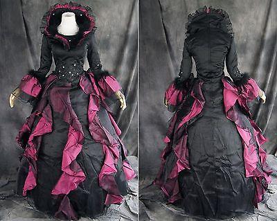 V-36 S/M/L/XL/XXL Victorian Gothic Lolita schwarz black Kostüm costume Kleid