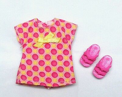 Barbie Kelly Doll Clothes Fashion Dress Pink & Yellow Polka Dot + Shoes New