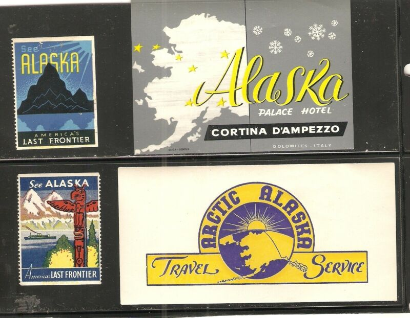 AK ALASKA Palace Hotel label,  Artic Travel , poster stamps Last Frontier., M,VF