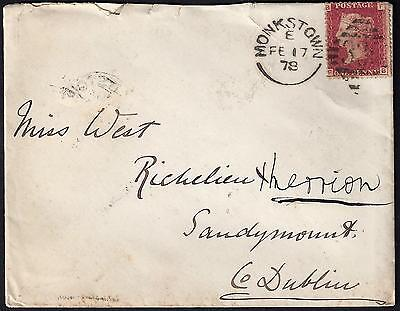 IRELAND UK 1860's 70's COLL OF TOWN COVERS FRANKED PENNY REDS W/RECIEVING MARKS