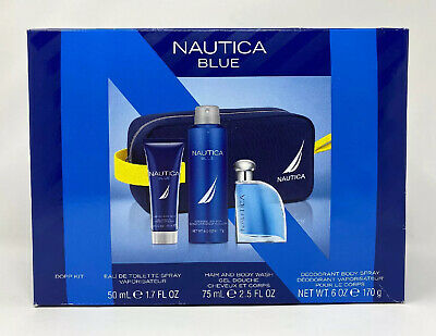 NAUTICA BLUE DOPP KIT, COLOGNE, BODY SPRAY, & HAIR / BODY WASH