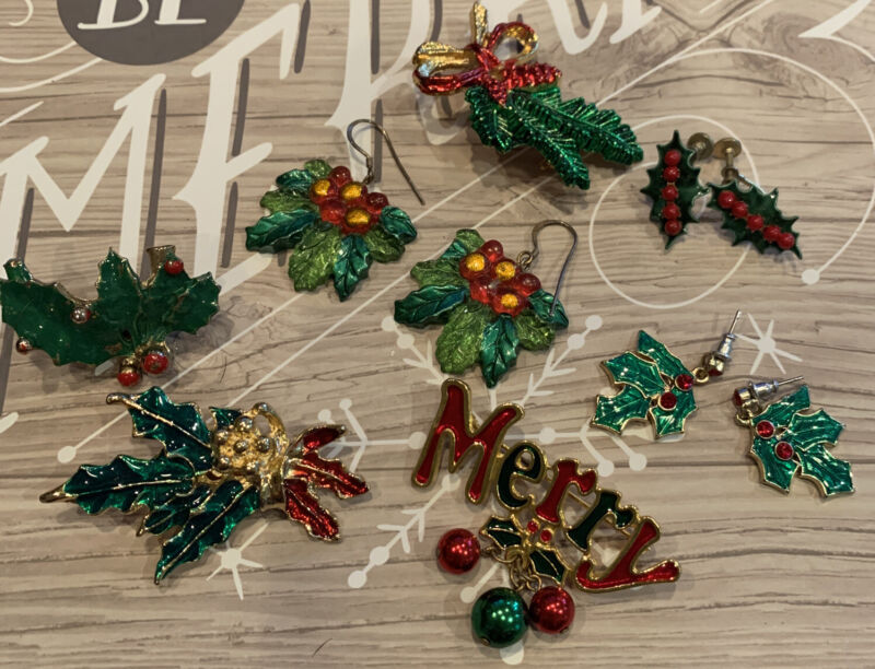 Lot of 7 Vintage Christmas Holly Brooches / Earrings