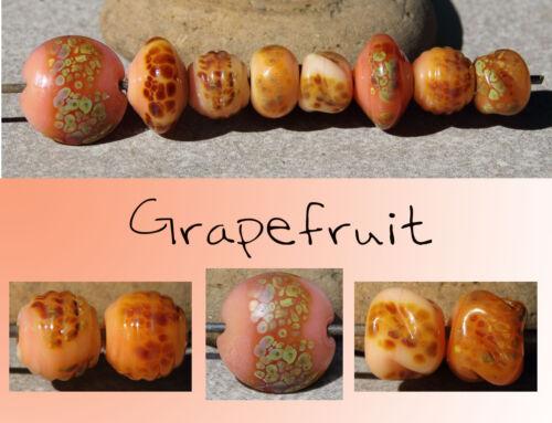 Grapefruit - Handmade Glass Lampwork Beads SRA MTO - Choose Shape
