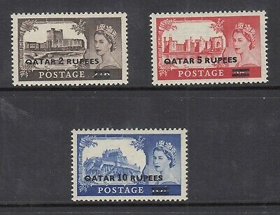 GB GREAT BRITAIN OVERPRINTED QATAR 13a-15a STEREOTYPED OVERPRINTS COMPLETE