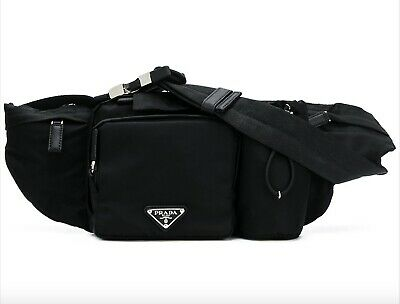 $795 PRADA Black Nylon Pouch Crossbody Technical Adjustable Waist Belt Bag