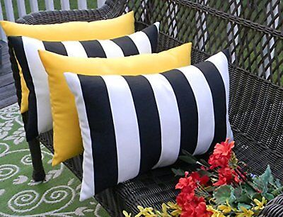 """Set of 4 Outdoor Throw Pillows Black White Stripe and Solid Yellow - 12"""" x 20"""""""