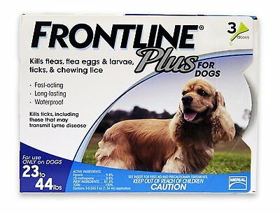 Merial Frontline Plus Flea and Tick Control for 23 to 44-Pound Dogs and Puppies - Frontline Plus Dog Flea Control