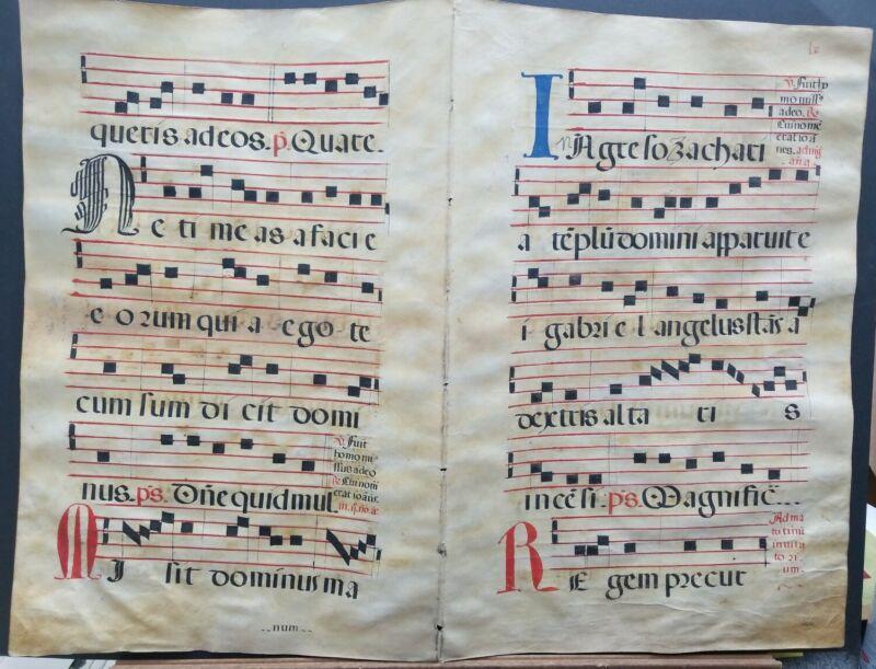 "16th Century Antiphonal Music Manuscript on Vellum 22""×30"" Double Page"