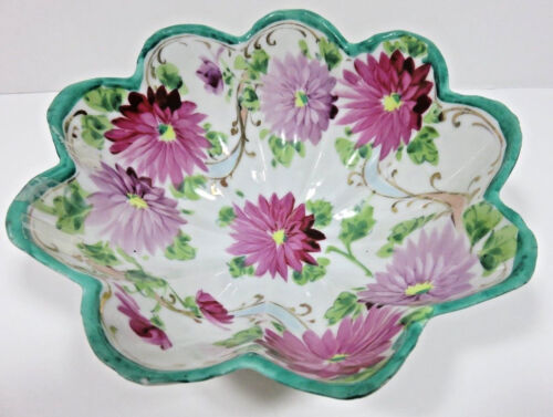 """Vintage Japan Hand Painted Pink Floral Bowl with Scalloped Edge ~ 7"""" ~ Excellent"""