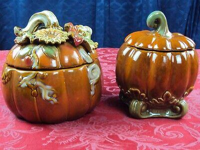 FALL & HALLOWEEN CERAMIC PUMPKIN W/ VINES LEAVES SUNFLOWER CANDY COOKIE JAR