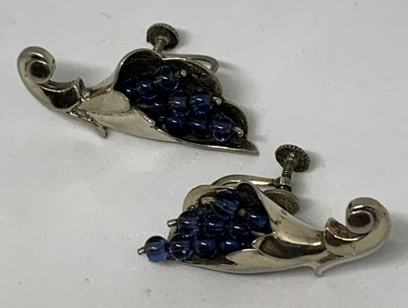 Vintage Sterling Silver Cornucopia Clip On Screw On Earrings With Blue Stones