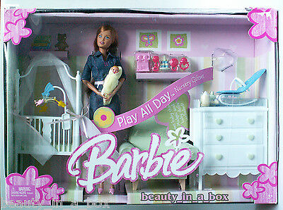 Baby Doll Nursery Playset (Midge & Baby Barbie Doll Nursery Denim Play All Day Set Family Playset)