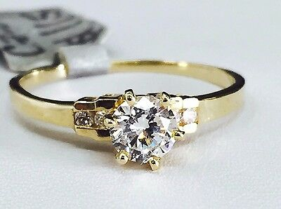 14K Solid Yellow Gold Round Cut CZ Engagement Ring - 5mm Cubic Zirconia Stone