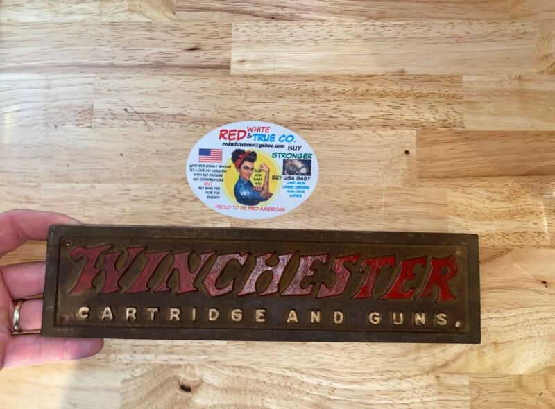 Winchester Rifles Sign Cast Iron Plaque Patina Gun Collector SOLID METAL 12INCH