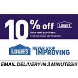 FIVE (5X) 10% OFF LOWES _ 1 MIN DELIVRY-5COUPONS INSTORE/ONLINE EXP - 10/31/18
