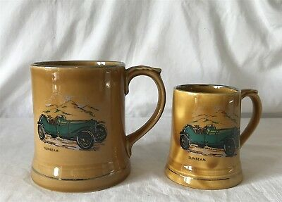 2x Wade Veteran Cars Mugs Both Series 5 #15 Tankards 1904 Sunbeam 9cm &12cm