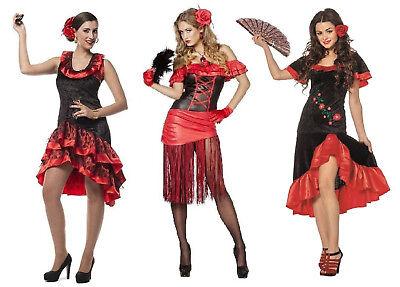 Flamenco Kostüm Kleid Damen Lady Sexy Spanierin Samba Seniora Spanier Seniorita