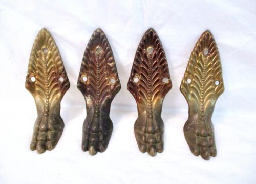 SET OF 4 VINTAGE BRASS FURNITURE HARDWARE CLAWFOOT w/FEATHER LEAF TOP TABLE LEGS