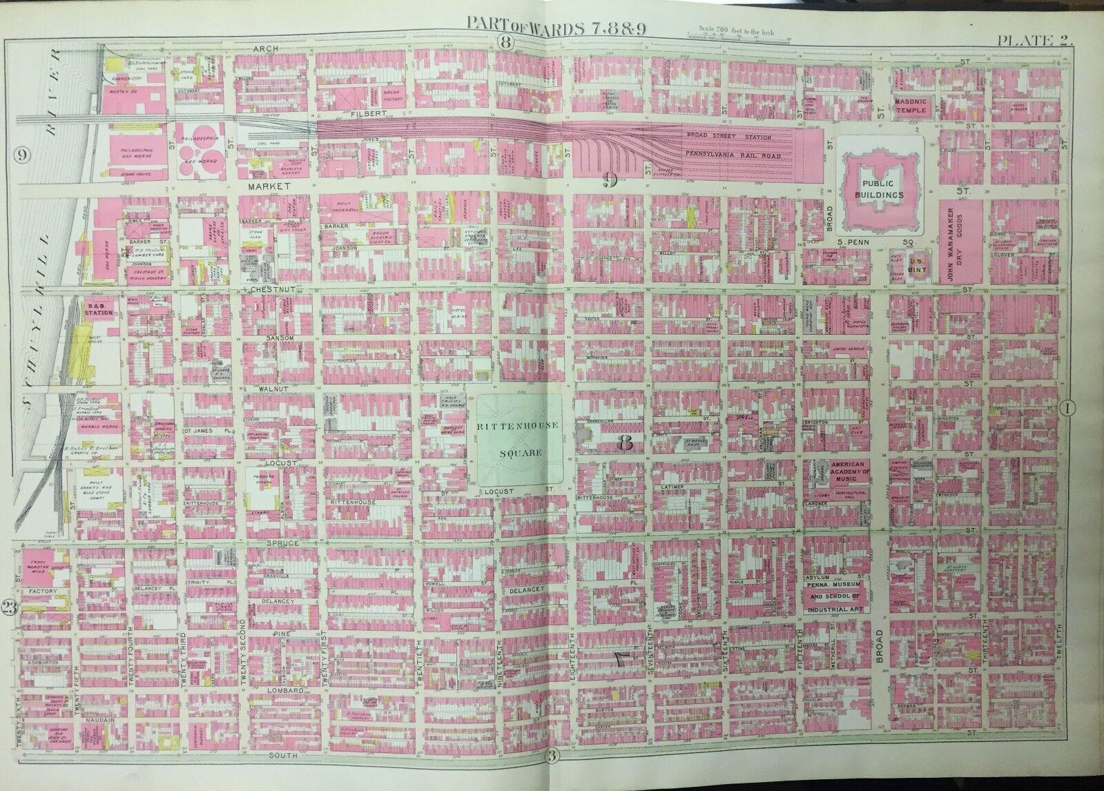 1895 PHILADELPHIA PA BROAD STREET STATION RITTENHOUSE SQUARE COPY ATLAS MAP