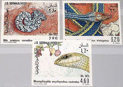 SOMALIA 1982 321-23 512-14 Schlangen Local Snakes Fauna Kriechtiere MNH