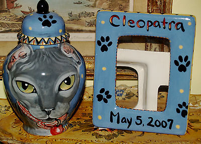 Custom CERAMIC SMALL Pet urn and memorial frame for CAT ashes Any Pets Ashes