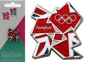 London 2012 Olympic Medium size Glittering Union Jack Pin Badge Team GB Souvenir
