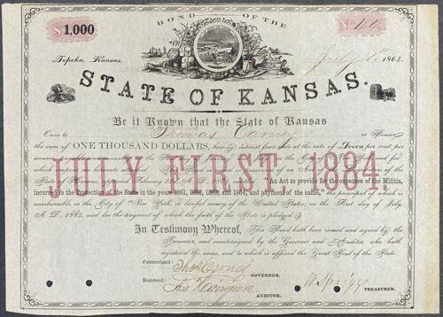 1864 $1000 State of Kansas Bond – Serial No. 44