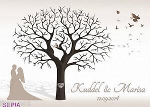 Fingerabdruck Hochzeitsbaum Leinwand Weddingtree SW Sepia neutral 70x50 Motiv18