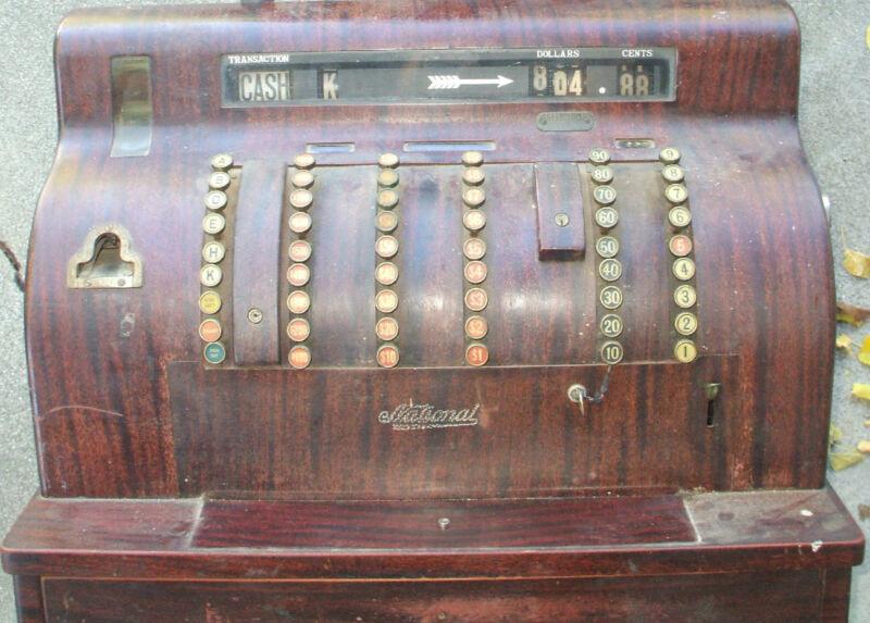 Antique NATIONAL Wood Metal Cash Register 1920