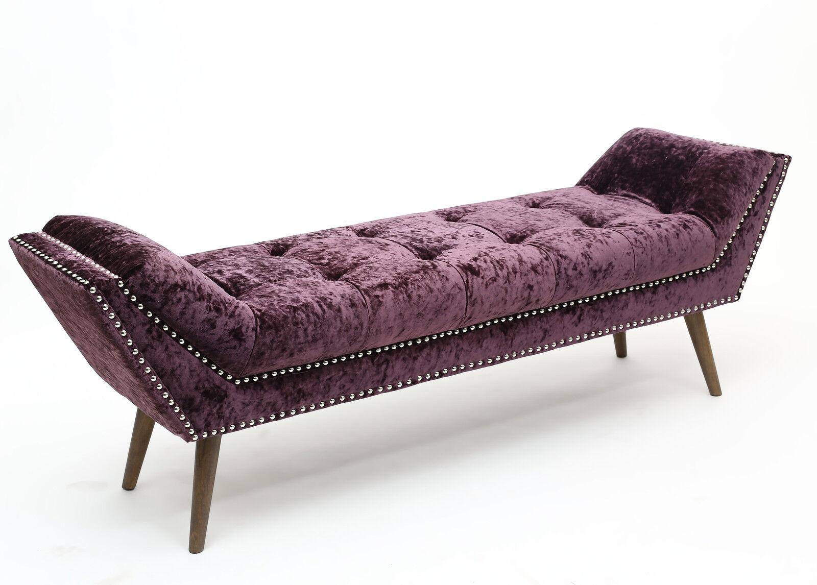 Montrose Crushed Velvet Chaise Longue Window Seat Studded in Silver on velvet recliner, velvet loveseat, velvet chaise lounge, velvet headboards, velvet curtains, velvet bedding,
