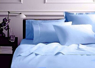 Organic Cotton Bed Sheet Set Soft and Luxurious-350TC-All Size-Blue -free bag Cotton Bed Bag