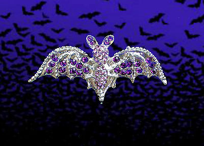PURPLE CRYSTAL BAT VAMPIRE PIN BROOCH~STEAMPUNK~TRUE BLOOD~GOTH