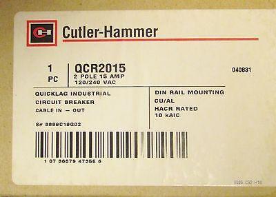 Cutler Hammer Din Rail Type Qcr Breaker 2 Pole 15 Amp  Qcr2015