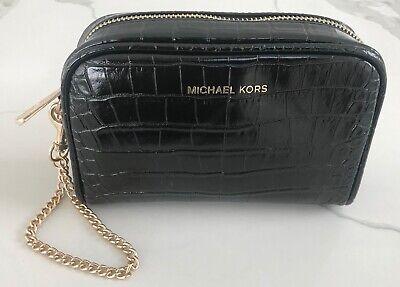 MICHAEL KORS black faux croc clutch wristlet pouch case handbag gold chain NEW
