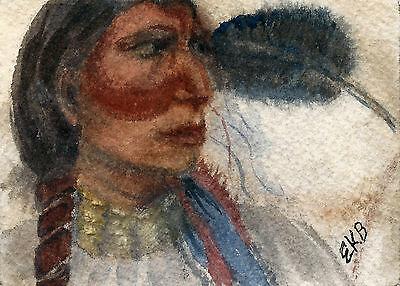 ACEO Original Watercolor Art Card Miniature by Eileen Native American Portrait