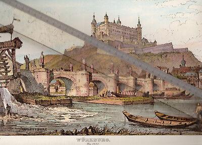 NEUDRUCK von alter Lithographie -  Blick zum Schloß Würzburg um 1835 - DIN a 3
