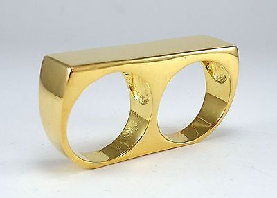 Mens Custom Two Finger 24k Gold Minimalist Retro Statement Double Bar Ring Sz 12 Custom Two Finger Ring