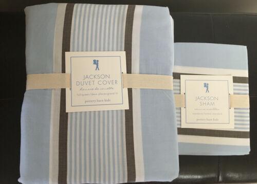 Pottery Barn Kids FULL/QUEEN BLUE JACKSON STRIPE Cotton Duvet Cover w/ SHAM $140