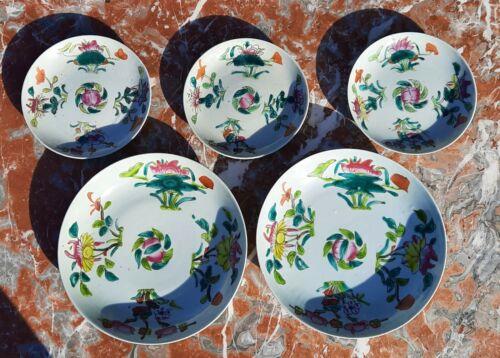 5 ~ 1800s Tongzhi vtg chinese porcelain plate antique pottery celadon peach rose